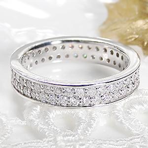 ジュエリー アクセサリー レディース 指輪 リング プラチナ ダイヤモンド エタニティ 二連 1カラット ハーフエタニティ ダイア pt900 送料無料 品質保証書 刻印無料 重ねづけ
