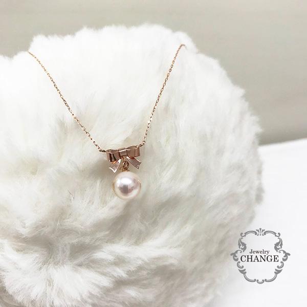 ネックレス レディース ペンダント 18k ピンクゴールド リボン 大人かわいい パール あこや真珠ネックレス