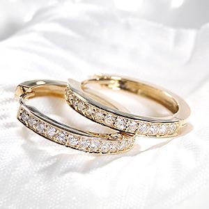 ファッション ジュエリー アクセサリー レディース ピアス ゴールド イエローゴールド ダイヤ ピアス ダイヤモンド ピアス K18YG フープ ダイヤピアス ダイヤモンドピアス フープピアス 豪華 送料無料 品質保証書 中折れ プレゼント