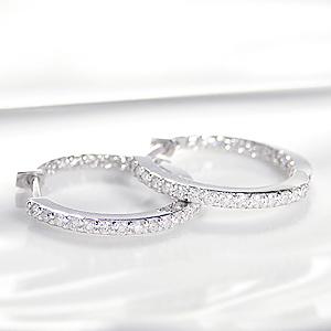 K18WG ダイヤモンド 中折れピアスピアス プラチナ 18金 ダイヤ ピアス ダイヤモンド ピアス PT900 フープ ダイヤピアス フープピアス 送料無料 品質保証書 中折れ式 プレゼント
