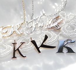イニシャル【K】ネックレス(k10PG/YG/WG)