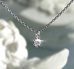 k10WG 重ね付け用 一粒ダイヤ ネックレス Hカラー SIクラス