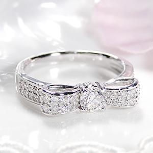 ジュエリー アクセサリー レディース 指輪 リング プラチナ ダイヤモンド りぼん リボン ダイア ダイアモンド pt900 送料無料 品質保証書 刻印無料 ご褒美 大人かわいい