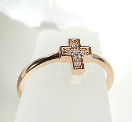 K18 クロス ダイヤモンド リング