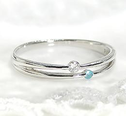 pt900ダイヤモンド&パライバトルマリン2連リング