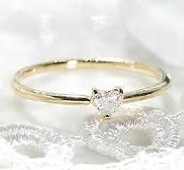 K18YG ダイヤハートシェイプ リング レディース ファッション ジュエリー アクセサリー 指輪 婚約指輪