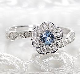 K18WG サンタマリアアクアマリン ダイヤモンド フラワー リング