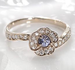 <title>☆希少性の高い宝石 タンザナイト K18YG ダイヤモンド フラワー リング 買い物</title>