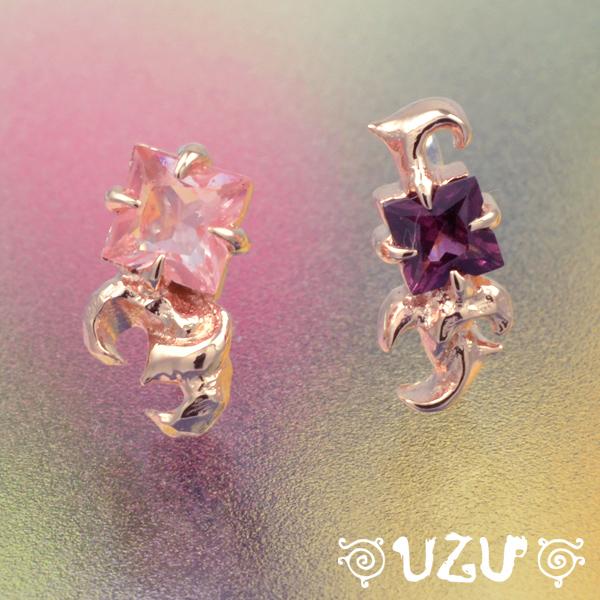 YA-229【UZU】シルバー925 K10ピンクゴールド イヤーカフス チェリークォーツ ロードライトガーネット