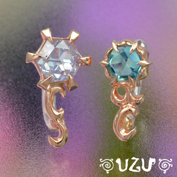 YA-230【UZU】シルバー925 K10ピンクゴールド イヤーカフス ラベンダーキュービック ブルーガラス