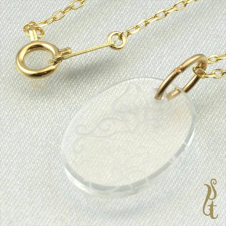 IN-208【UZU IST】K10YG ホワイトクォーツ ネックレス 鏡面仕上げ【 ネックレス 】【 ペンダント 】