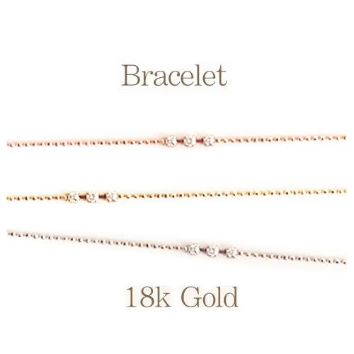 【全品送料無料】K18 天然 ダイヤモンド ブレスレット3粒デザイン ダイヤモンド 0.07ctSolitaire collectionK18イエローゴールドK18ピンクゴールドK18ホワイトゴールド