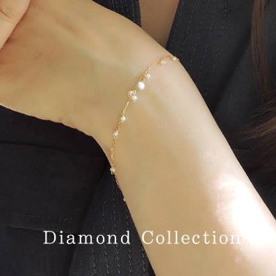 【全品送料無料】K18 天然 ダイヤモンド 淡水パール ブレスレット1粒デザイン ダイヤモンド 0.1ctSolitaire collectionK18イエローゴールドK18ピンクゴールドK18ホワイトゴールド