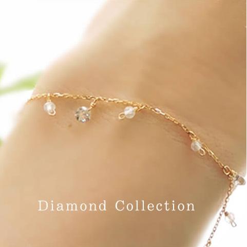 【全品送料無料】K18 天然 ダイヤモンド ブルームーンストーン ブレスレット3粒デザイン ダイヤモンド 0.3ctSolitaire collectionK18イエローゴールドK18ピンクゴールドK18ホワイトゴールド