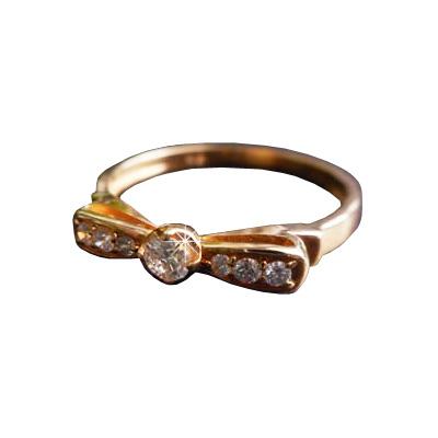 【全品送料無料】大人かわいい リボン ダイヤモンド リング天然ダイヤモンド 0.15カラットK18イエローゴールドK18ピンクゴールドK18ホワイトゴールド