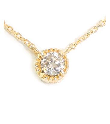 【全品送料無料】天然ラウンドブリリアント ダイヤモンド ネックレス 一粒 ダイヤ ミル打ち アンティーク シンプル デザイン F