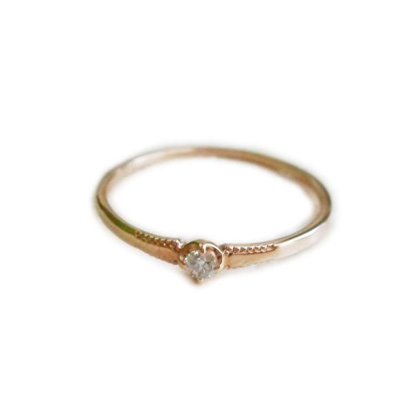 【全品送料無料】 K18 diamond K18 シンプルデザイン一粒天然ダイヤリング人気 シンプルダイヤモンド 0.04ctK18 イエローゴールドK18ピンクゴールドK18ホワイトゴールド