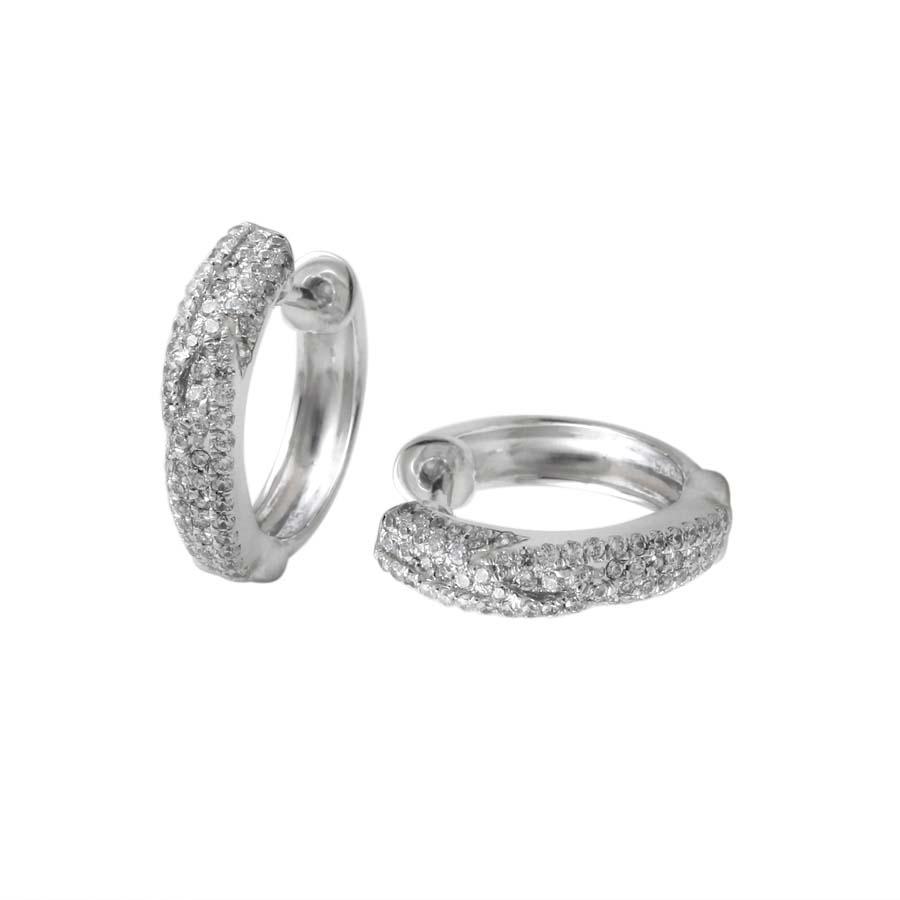 18金 ダイヤモンド フープ ピアス 0.4ct(片耳0.2ct) K18WG ホワイトゴールド ダイアモンド レディース プレゼント ギフト 記念日 誕生日