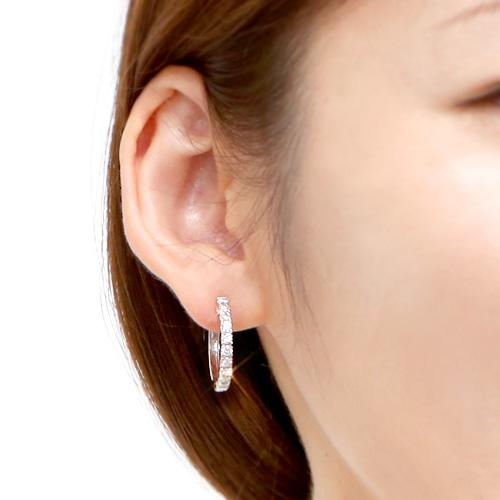 18金 ダイヤモンド フープピアス 豪華 1.0ct(片耳0.5ct) K18WG ホワイトゴールド シンプル ダイアモンド レディース プレゼント ギフト 記念日 誕生日