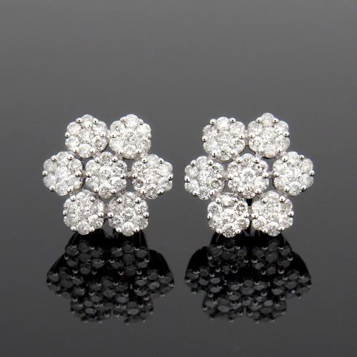18金 ダイヤモンド1.0ct フラワーピアス 1.0カラット K18WG ホワイトゴールド シンプル ダイアモンド レディース プレゼント ギフト 記念日 誕生日