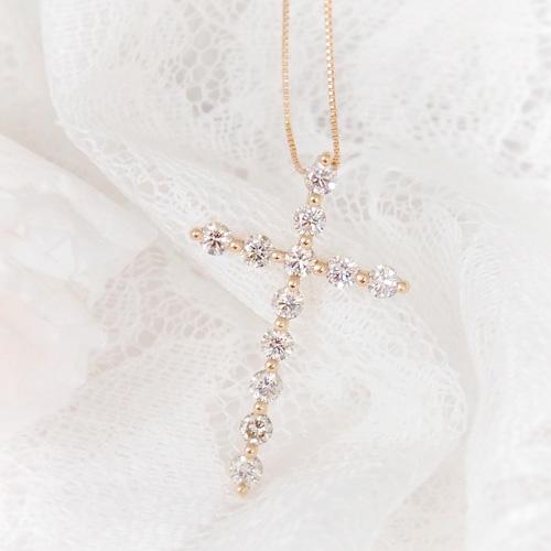 18金 ダイヤモンド1.0ct クロスダイヤモンドネックレス ペンダント 1カラット K18PG ピンクゴールド ダイアモンド レディース プレゼント ギフト 記念日 誕生日