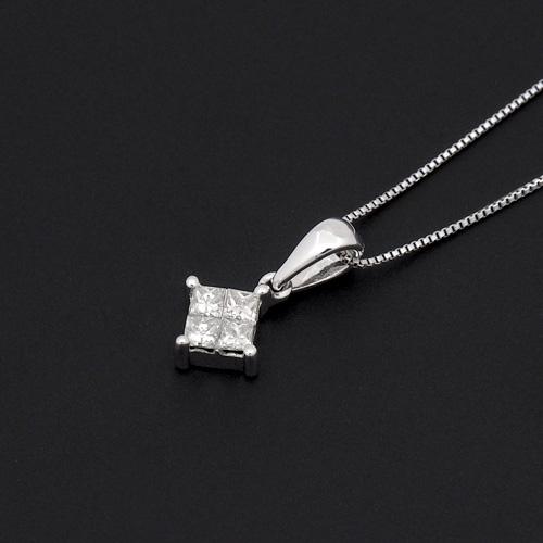 18金 ダイヤモンド0.25ct プリンセスカッとネックレス ペンダント 0.25カラット K18WG ホワイトゴールド ダイアモンド レディース プレゼント ギフト 記念日 誕生日