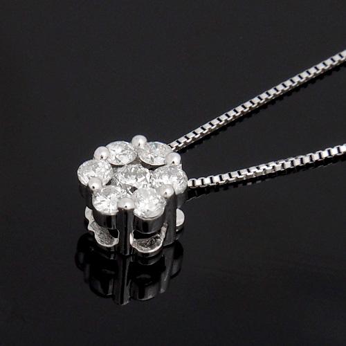 18金 ダイヤモンド0.25ct セブンストーンネックレス ペンダント 0.25ctカラット K18WG ホワイトゴールド ダイアモンド レディース プレゼント ギフト 記念日 誕生日