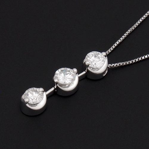 18金 ダイヤモンド0.5ct スリーストーンネックレス ペンダント 0.5カラット K18WG ホワイトゴールド ダイアモンド レディース プレゼント ギフト 記念日 誕生日