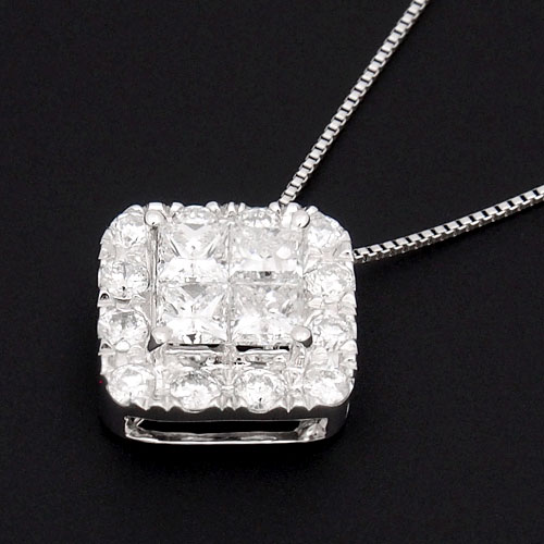 18金 ダイヤモンド1.0ct スクエアデザインネックレス プリンセスカット ペンダント 1カラット K18WG ホワイトゴールド ダイアモンド レディース プレゼント ギフト 記念日 誕生日