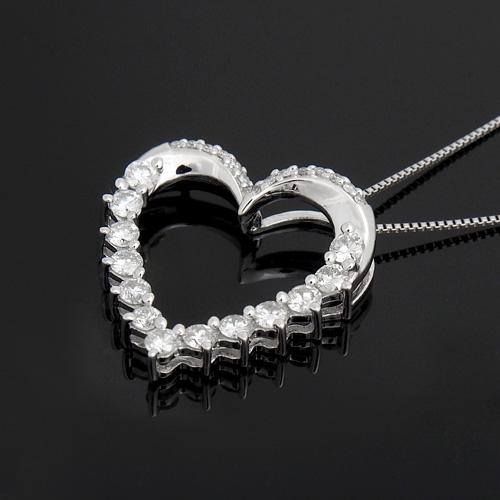 18金 ダイヤモンド0.55ct オープンハートネックレス ペンダント 0.55カラット K18WG ホワイトゴールド ダイアモンド レディース プレゼント ギフト 記念日 誕生日