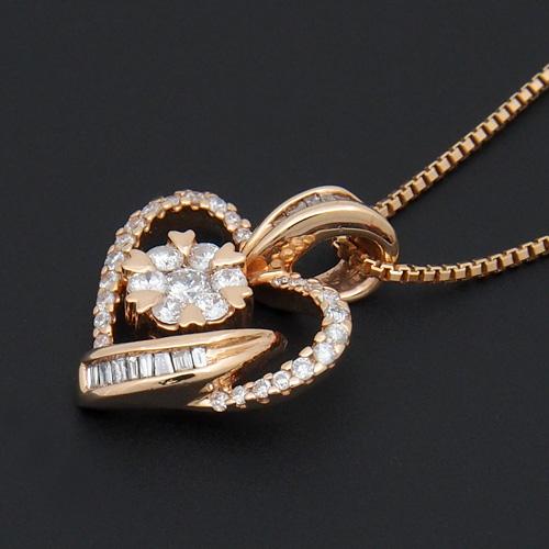 18金 ダイヤモンド0.4ct ハートネックレス テーパーカットダイヤ ペンダント 0.4カラット K18PG ピンクゴールド ダイアモンド レディース プレゼント ギフト 記念日 誕生日