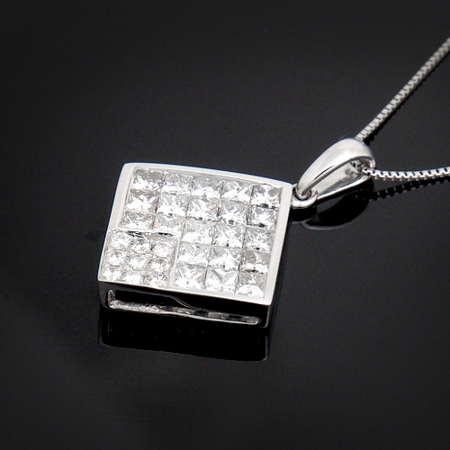 18金 ダイヤモンド1.2ct プリンセスカット スクエアネックレス ペンダント 1.2カラット K18WG ホワイトゴールド ダイアモンド レディース プレゼント ギフト 記念日 誕生日