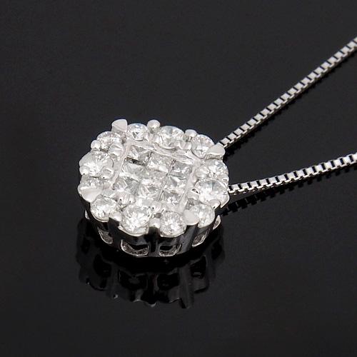 18金 ダイヤモンド0.4ct プリンセスカット スクエアネックレス ペンダント 0.4カラット K18WG ホワイトゴールド ダイアモンド レディース プレゼント ギフト 記念日 誕生日