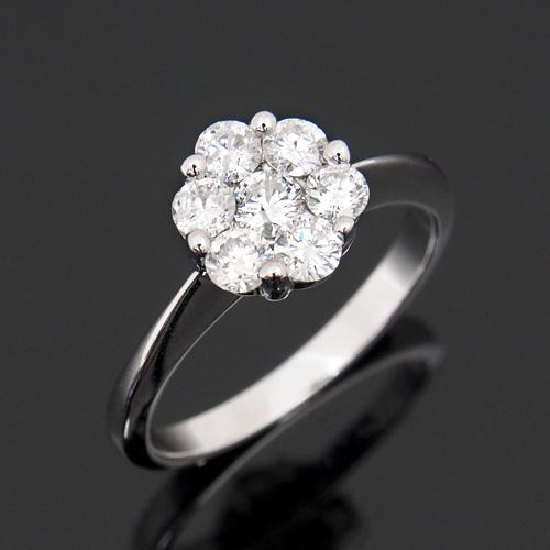 18金 ダイヤモンド 0.65ct セブンストーンリング K18WG ホワイトゴールド 指輪 0.65カラット ダイアモンド レディース プレゼント ギフト 記念日 誕生日