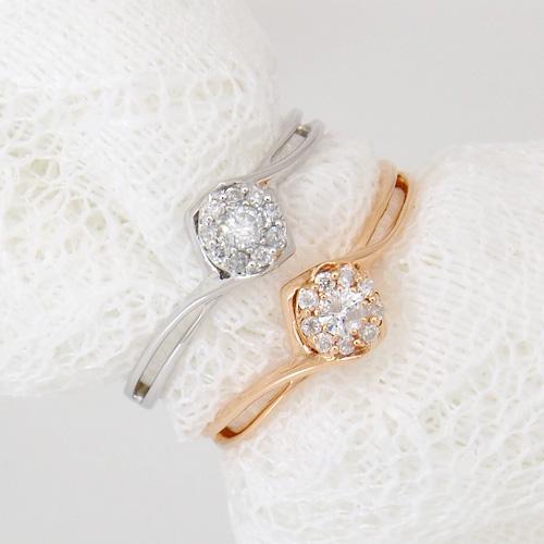18金 ダイヤモンド0.1ct フラワーダイヤリング K18WG ホワイトゴールド K18PG ピンクゴールド 0.1カラット 指輪 ダイアモンド レディース プレゼント ギフト 記念日 誕生日