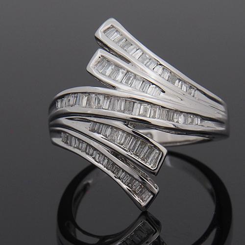 18金 ダイヤモンド 0.5ct テーパーデザインリング K18WG ホワイトゴールド 指輪 0.5カラット ダイアモンド レディース プレゼント ギフト 記念日 誕生日