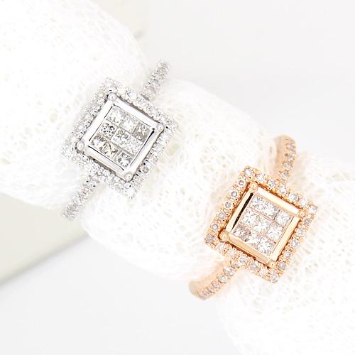 18金 ダイヤモンド0.4ct スクエアモチーフダイヤリング プリンセスカット K18WG ホワイトゴールド K18PG ピンクゴールド 0.4カラット 指輪 ダイアモンド レディース プレゼント ギフト 記念日 誕生日