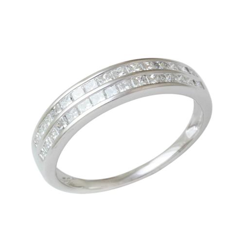 プラチナ ダイヤモンド1.0ct プリンセスカット ダブルレール留めデザインリング 1カラット Pt900 指輪 ダイアモンド レディース プレゼント ギフト 記念日 誕生日