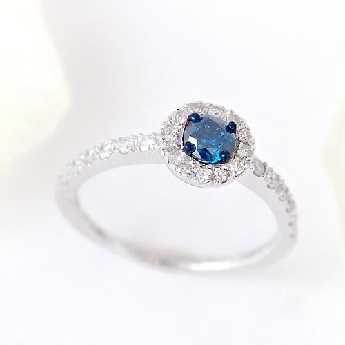 18金 合計0.5ct ブルーダイヤモンドリング K18WG ホワイトゴールド 0.5カラット 指輪 ダイアモンド レディース プレゼント ギフト 記念日 誕生日