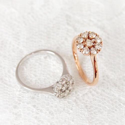 18金 ダイヤモンド0.6ct フラワーダイヤリング K18WG ホワイトゴールド K18PG ピンクゴールド 0.6カラット 指輪 ダイアモンド レディース プレゼント ギフト 記念日 誕生日