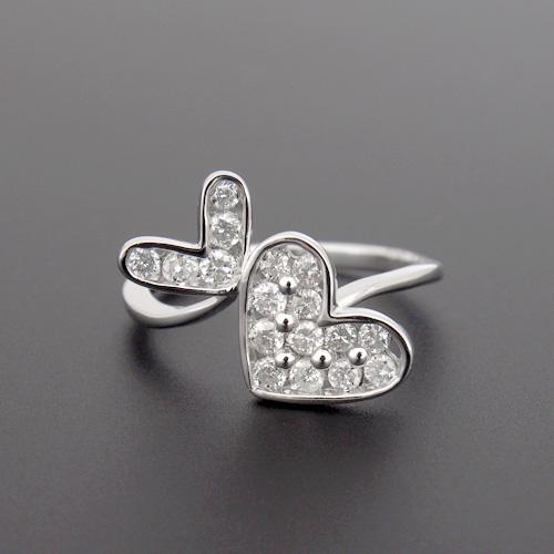 18金 ダイヤモンド0.5ct ダブルハートダイヤリング K18WG ホワイトゴールド K18PG ピンクゴールド 0.5カラット 指輪 ダイアモンド レディース プレゼント ギフト 記念日 誕生日