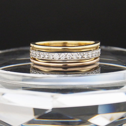 18金 プラチナ ダイヤモンド 0.3ct コンビネーションリング Pt900 K18YG K18PG 3カラー 幅広 0.3カラット 指輪 ダイアモンド レディース プレゼント ギフト 記念日 誕生日