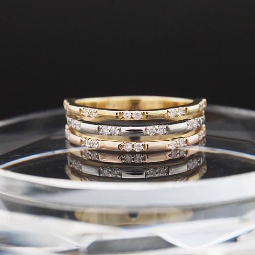 18金 ダイヤモンド 0.22ct 18金 コンビネーションリング Pt900 3カラー 幅広 0.22カラット 指輪 K18WG ホワイトゴールド ダイアモンド レディース プレゼント ギフト 記念日 誕生日