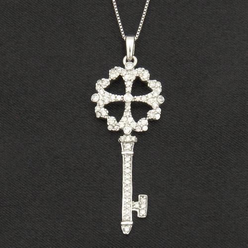 18金 ダイヤモンド0.35ct キーモチーフ 四葉のクローバーダイヤモンドネックレス ペンダント 0.35カラット K18WG ホワイトゴールド ダイアモンド レディース プレゼント ギフト 記念日 誕生日