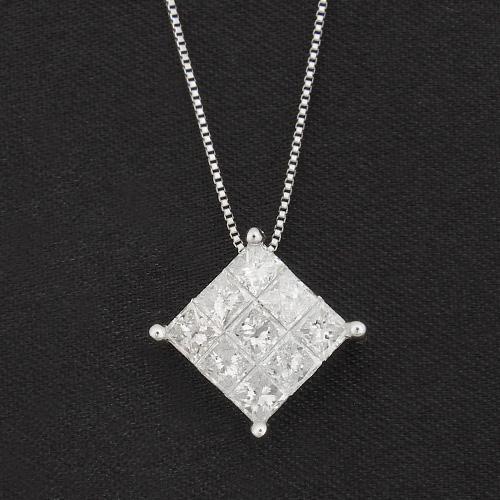 18金 ダイヤモンド1.0ct スクエアダイヤモンドネックレス プリンセスカット 1カラット ペンダント K18WG ホワイトゴールド ダイアモンド レディース プレゼント ギフト 記念日 誕生日