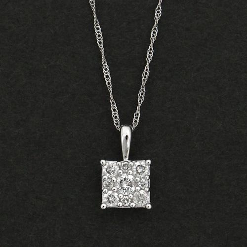 18金 ダイヤモンド0.25ct スクエアデザインネックレス ペンダント 0.25カラット K18WG ホワイトゴールド ダイアモンド レディース プレゼント ギフト 記念日 誕生日