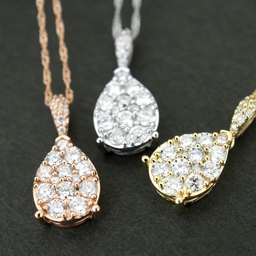 18金 ダイヤモンド0.4ct しずくパヴェネックレス 雫 ドロップ ペンダント 0.4カラット K18WG ホワイトゴールド K18YG イエローゴールド K18PG ピンクゴールド ダイアモンド レディース 記念日 誕生日