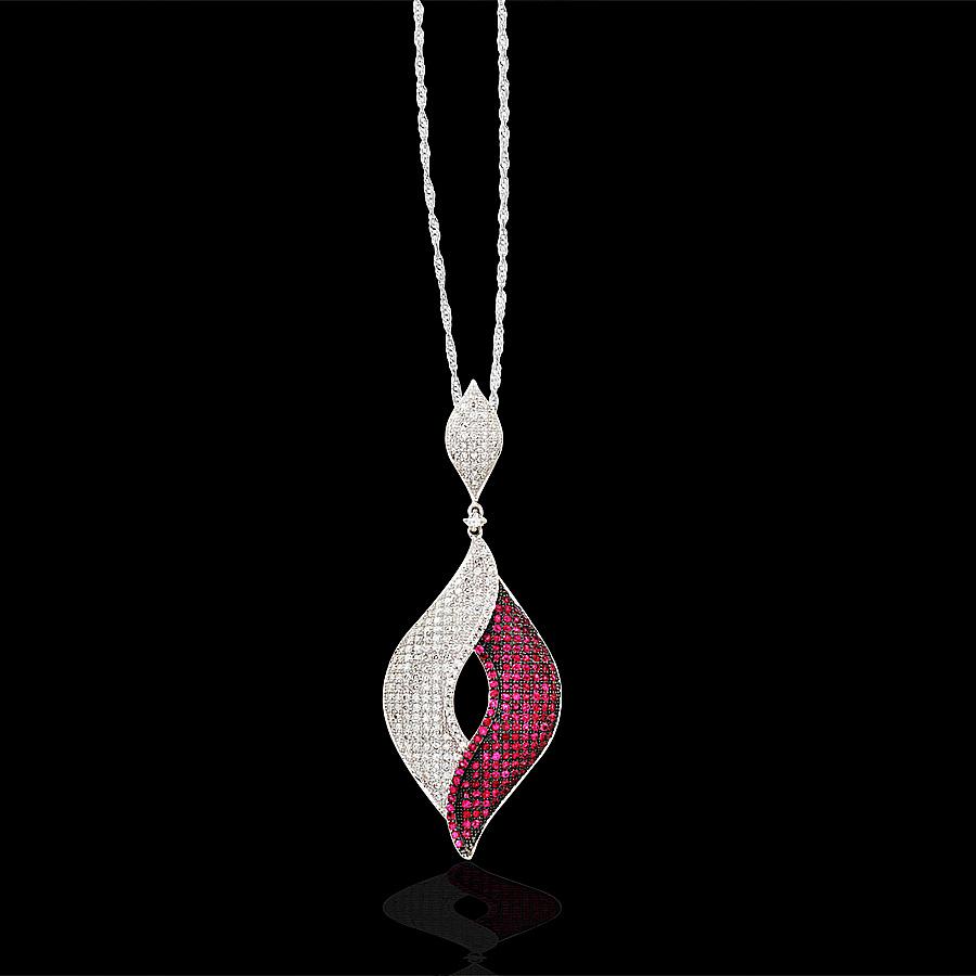 18金 ダイヤモンド1.8 ルビー1.7ct 2トーンデザインペンダント ペンダント 1.8ctカラット K18WG ホワイトゴールド ダイアモンド レディース プレゼント ギフト 記念日 誕生日