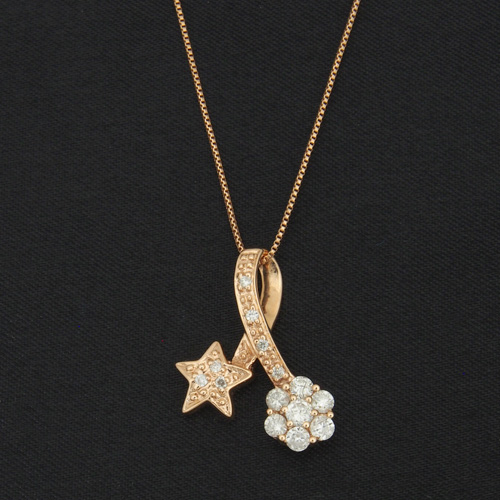 18金 ダイヤモンド0.35ct スターフラワーネックレス 0.35カラット ペンダント K18PG ピンクゴールド ダイアモンド レディース プレゼント ギフト 記念日 誕生日