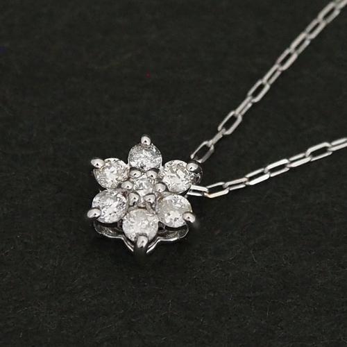 18金 ダイヤモンド0.1ct フラワーネックレス 6弁 7石 0.1カラット ペンダント K18WG ホワイトゴールド ダイアモンド レディース プレゼント ギフト 記念日 誕生日